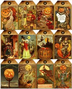 12 Halloween - Witch Pumpkin Vintage 155 Lb Paper Craft Card Scrapbook Tag L Retro Halloween, Halloween Tags, Halloween Prints, Holidays Halloween, Happy Halloween, Halloween Decorations, Beistle Halloween, Halloween Scrapbook, Scrapbook Paper Crafts