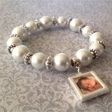 Mother's Day Pearl Glass Bead Bracelet w/ Dangling Photo Charm Kit