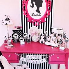 soo adorable and tween pink and black dressing table
