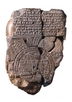 'The Babylonian World Map, the earliest surviving map of the world (c. 600 BCE), is a symbolic, not a literal representation. It deliberately omits peoples such as the Persians and Egyptians, who were well known to the Babylonians. The area shown is depicted as a circular shape surrounded by water, which fits the religious image of the world in which the Babylonians believed.'