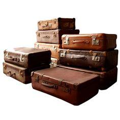Vintage Suitcases & Trunks | Set Of 10 Different Used Vintage Luggage Trunks at 1stdibs