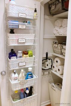 Nice Bathroom organization Design Ideas - Best Home Ideas and Inspiration Bathroom storage is a location of the home we always need to service. After that you'll need to see these 30 bathroom storage ideas. Diy Bathroom, Small Bathroom Storage, Bathroom Interior, Remodel Bathroom, Bedroom Storage, Bathroom Linen Closet, Vanity Bathroom, Bathroom Cabinet Storage, Creative Bathroom Storage Ideas