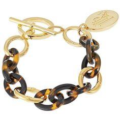 LAUREN RALPH LAUREN Chain-Link Charm Bracelet ($19) ❤ liked on Polyvore featuring jewelry, bracelets, bracelets/watches, tortoise, tortoise jewelry, bracelet charms, tortoise shell jewelry, bracelet bangle and charm jewelry