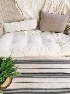 Our Front Porch Swing | Sarah Jane Interiors Porch Swing, Front Porch, Wicker Swing, Farmhouse Area Rugs, Greenery Decor, Porch Ceiling, Indoor Outdoor Rugs, How To Fall Asleep, Bed Pillows