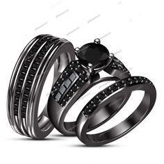 Black Sim Diamond 18K Black Gold FN 925 Silver His & Her 3pcs Trio Ring Set #giftjewelry22
