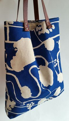 Hand screen printed cotton tote bag eco friendly by FemkeTextiles
