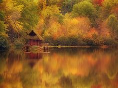 Wooden Cabin on Lake in Autumn — Image by © Robert Llewellyn/Corbis