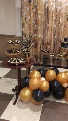 Birthday Party Decorations 249949848056789772 - Source by MarissaWeinrei 60th Birthday Party Decorations, Gold Birthday Party, Golden Birthday, Adult Birthday Party, Graduation Party Decor, 60 Birthday Party Ideas, 14th Birthday, Black And Gold Party Decorations, New Years Decorations