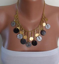 Black and Grey  Button Necklace with Chain  by SwedishShop on Etsy, $14.90