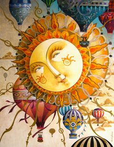SUN - illustration by David Galchutt Sun Moon Stars, My Sun And Stars, Art Soleil, Illustrations, Illustration Art, Balloon Illustration, Good Day Sunshine, Rug Hooking Patterns, Sun Art