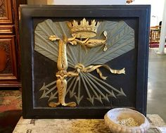 "Antique English Panel With Crown and Arrow  31"" Wide x 28.5"" High   $395  Dealer #36  Lost. . .Antiques 1201 N. Riverfront Blvd. Dallas, TX 75207  Monday - Saturday: 10am - 5pm Sunday 11a"