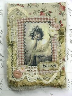 Fabric Collage Notebook by Shabby Cottage Studio, via Flickr