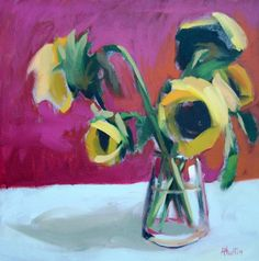 Sunflowers on Red no. 3 original still life floral oil painting by Moulton 18 x 18 inches on canvas  prattcreekart on Etsy, $200.00