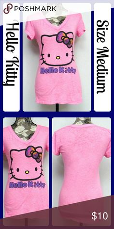 """Sz Med Hello Kitty Hot Pink Tee EUC, No stains, tears, or snags at all. Made of 50%% Cotton, 50% Polyester...  Measurements are taken flat and unstretched...Bust measures 18"""" across from underarm to underarm, Length is 27""""   (T113) Hello Kitty Tops Tees - Short Sleeve"""