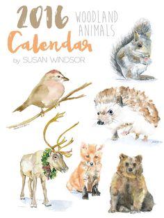 2016 Calendar - Woodland Animal 4 x 6 Desk Calendar - 12 Month - Watercolor Paintings Enchanted Forest Nursery Theme, Woodland Nursery Girl, Watercolor Animals, Watercolor Paintings, Watercolour, Woodland Creatures, Woodland Animals, Animal Drawings, Illustration Art