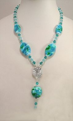 2 Strand Necklace Blue Necklace Aqua and Lime Green Glass Beads Necklace