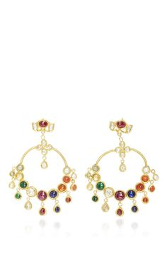 Raj Navratna Chandelier Earrings by SANJAY KASLIWAL for Preorder on Moda Operandi