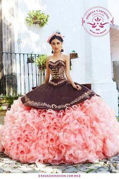 4f4ce96c1 12 ideas de vestidos para xv años en color cafe  Vestidos de 15 años 2018  color café