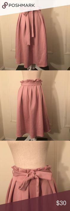 """ASOS Scuba Prom Skirt with Paper Bag Waist This is an ASOS Skirt.  It has a high- rise waist with a belted paper bag design. True to size. Size 10. Measures 28"""" in length. NWT! ASOS Skirts Midi"""