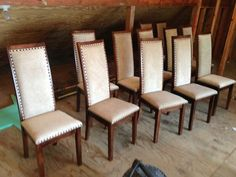 Custom Made High Back Upholstered Maple Dining Chairs