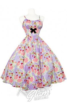 21fc5a88793 Retro Glam - PinUp Couture Mary Blair Ella Dress in Lips and Roses Print in  Lavender