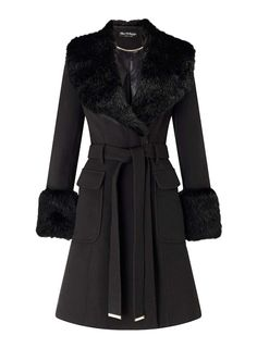 Black faux fur cuff and collar coat with pocket detailing and tie waist belt.