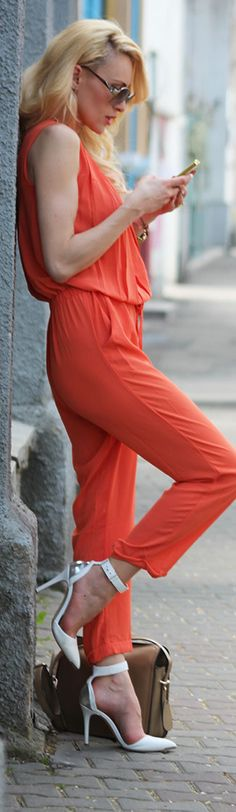 Fashion Spot Blog #street #style  So glad jumpsuits are back -- I have two that I picked up in Spain last year waiting to catch up to our US fashions. bb