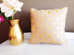 Gold Polka Dot Burlap Decorative Throw by CEYeventsanddesign, $20.00
