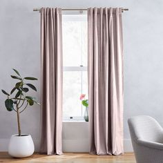 Luster Velvet Curtain, Dusty Blush, At West Elm - Solid Curtains - Window Treatments Metal Curtain, Curtain Sets, Curtain Panels, Velvet Curtains Bedroom, Blush Velvet Curtains, West Elm Curtains, Living Room Drapes, Windows, Blush
