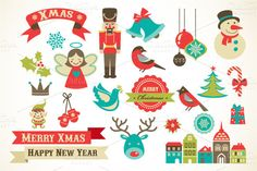 Christmas set of cute vector icons ~ Illustrations on Creative Market