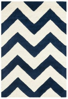 Looking for a navy/cream chevron rug for the baby nursery. Liking this choice from WayFair.com