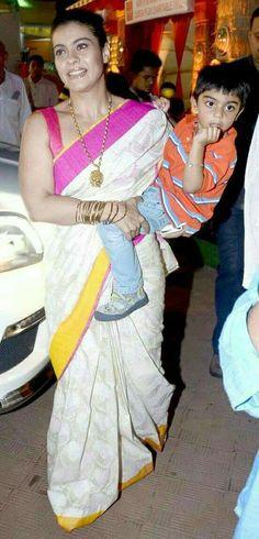Kajol's family day out for Durga Puja - Yahoo OMG! Indian Beauty Saree, Indian Sarees, Kajol Saree, Eastern Dresses, Indian Wife, Party Sarees, Stylish Sarees, Elegant Saree, Beautiful Bollywood Actress