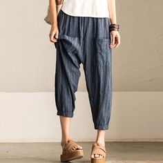 Summer Women Loose Stripe Blue Lantern Pants – Buykud