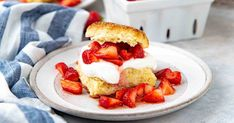 Easy Homemade Strawberry Shortcake that can be ready in 30 minutes! With Lemon shortcakes, juicy strawberries & creamy whipped cream - the perfect dessert!