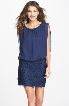 Aidan by Aidan Mattox Chiffon & Lace Blouson Dress (Nordstrom Online Exclusive) available at #Nordstrom