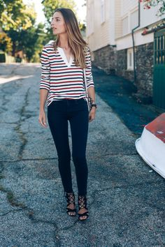 Long Sleeve Stripe Tee Raw Hem Jeans Sam Edelman Yardley Lace Up Prosecco and…