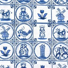 Delfts blauw katoenweefsel - Nederlandse afdrukken - Fat Quarter