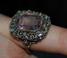 3db9ca51664f Antiguo Anillo De Oro Plata Diamantes Y Amatista - Italiano -   22.500