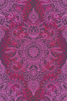 Magenta, Pink & Coral Protea Doodle Pattern by Micklyn (society6)