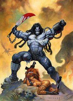 Lobo by Alex Horley (DC comics) Heros Comics, Dc Comics Characters, Dc Heroes, Arte Dc Comics, Dc Comics Art, Comic Anime, Anime Comics, Character Drawing, Comic Character