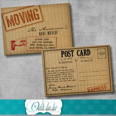 Moving Announcement / Change of Address Cards - Cardboard - DIY - Printable - Customizable. $10.00, via Etsy.