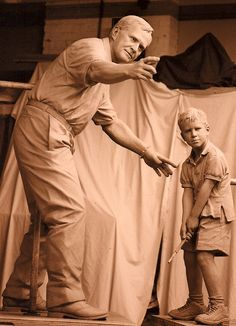 The Jack Nicklaus seven foot in proportion sculpture is located in Dublin, Ohio. The sculpture also includes a young boy being taught golf form by Jack Nicklaus.