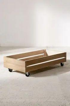 Diy Storage Under Bed, Under Bed Organization, Bench With Storage, Wardrobe Organisation, Bedroom Organization, Rolling Storage Bins, Wooden Storage Boxes, Underbed Storage Ideas, Wooden Boxes