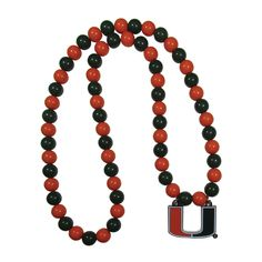 Siskiyou Ncaa Miami Hurricanes Sports Team Logo Multicolored Beaded Necklace