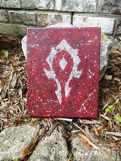 World of Warcraft Horde Symbol Crest Modern Contemporary Whimsical Pop Fine Art Acrylic Action Splatter Painting