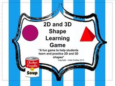 """This is a game to help students whom need practice and reinforcement in identifying 2D and 3D shapes. The name of the game is """"OH NO"""". All the cards are cut up and then put in a box/container. Players take turn pulling out a card and identifying the shape, then he/she gets to hold onto the card."""