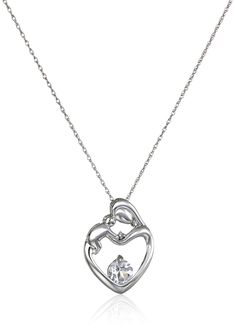 10k White Gold Mother's Jewel White Topaz and Diamond Accent Heart Shaped Pendant Necklace, 18""