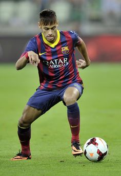 Neymar of Barcelona controls the ball during a Pre Season Friendly match between Lechia Gdansk and FC Barcelona on July 2013 in Gdansk, Poland. World Football, Football Soccer, Soccer Tips, Nike Soccer, Soccer Cleats, Neymar Jr, Good Soccer Players, Manchester United Soccer, Most Popular Sports