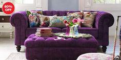 Debenhams Purple Chesterfield Sofa and Footstool