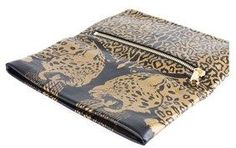 Roberto Cavalli Womens Black Gold Panther Leather Clutch Wallet.